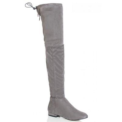 Quiz Grey Thigh High Stretch Boots