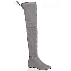 Quiz - Grey Thigh High Stretch Boots