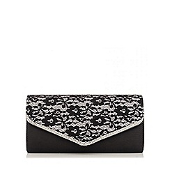 Quiz - Black Lace Diamante Satin Bag