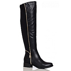 Quiz - Black Stretch Back Knee High Boots