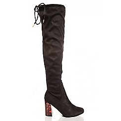 Quiz - Black Faux Suede Tie Top Knee High Boots