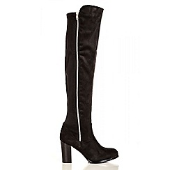 Quiz - Black Zip Stretch Back Knee High Boots
