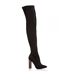 Quiz - Black Stretch Over The Knee Heel Boots
