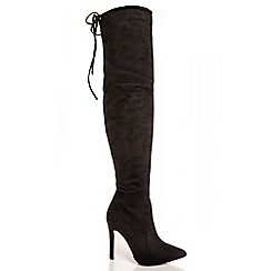 Quiz - Black High Pencil Heel Over The Knee Boots