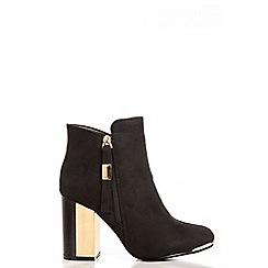 Quiz - Black Gold Trim High Heel Ankle Boots