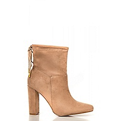 Quiz - Taupe Tie Back High Heel Ankle Boots