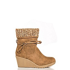 Quiz - Taupe Knit Ankle Trim Wedge Boots
