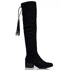 Quiz - Black Over The Knee Tie Back Boots