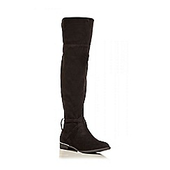 Quiz - Black Faux Suede Gold Trim Knee High Boots
