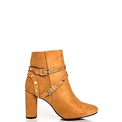 Quiz - Tan Stud Strap High Heel Ankle Boots