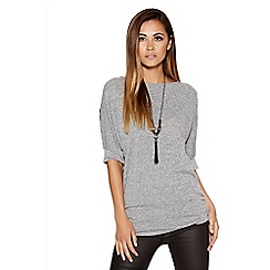 Quiz - Grey Lace Back Necklace Top