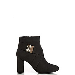 Quiz - Black Clip Strap High Heel Ankle Boots
