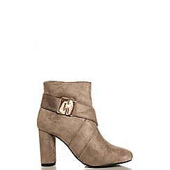 Quiz - Taupe Clip Strap High Heel Ankle Boots