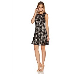 Quiz - Black And Nude Crochet Pearl Skater Dress