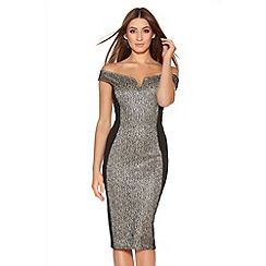 Quiz - Gold And Black Lace Sequin Midi Dress
