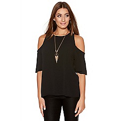 Quiz - Black Crepe Cold Shoulder Necklace Top
