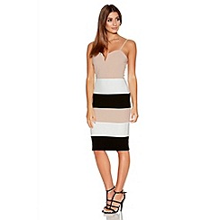 Quiz - Stone And Black Panel Strap Bodycon Dress