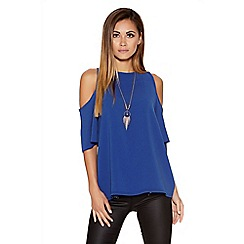 Quiz - Royal Blue Crepe Cold Shoulder Necklace Top