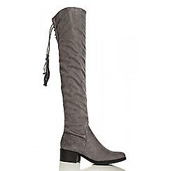 Quiz - Grey Over The Knee Tie Back Boots