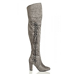 Quiz - Grey Side Lace Over The Knee Boots