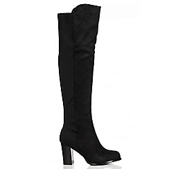 Quiz - Black Faux Suede Stretch Back High Heel Boots