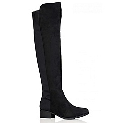 Quiz - Black faux suede stretch back knee high boots