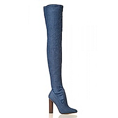 Quiz - Blue Denim Over The Knee High Heel Boots