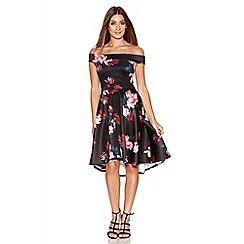 Quiz - Black Floral Bardot Dip Hem Dress