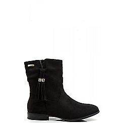 Quiz - Black Tassel Flat Ankle Boots