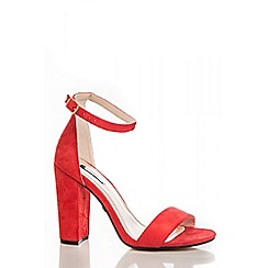 Quiz - Red Block Heel Sandals