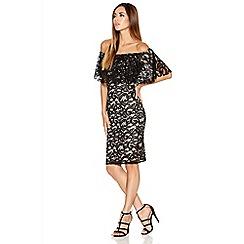 Quiz - Black And Stone Lace Bardot Dress