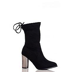Quiz - Black Metal Heel Stretch Ankle Boots