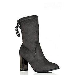 Quiz - Grey Metal Heel Stretch Ankle Boots