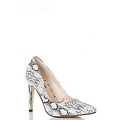 Quiz - White And Black Snake Print Court Shoes