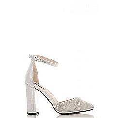 Quiz - Silver Diamante Shimmer Strap Heel