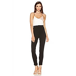 Quiz - Stone Black And Cream Jumpsuit