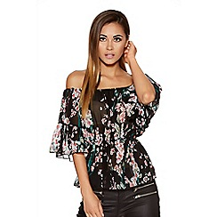 Quiz - Black Chiffon Flower Print Bardot Top
