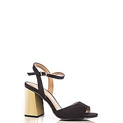 Quiz - Black Faux Suede Gold Block Heel Sandals