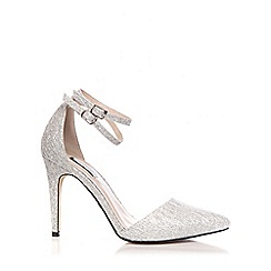 Quiz - Silver Glitter Ankle Strap Shoes