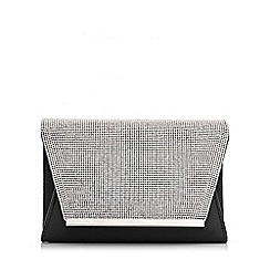 Quiz - Black Satin Diamante Envelope Bag