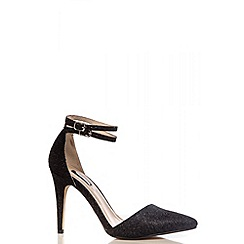 Quiz - Black Glitter Ankle Strap Shoes