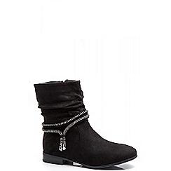 Quiz - Black Ruched Diamante Trim Ankle Boots
