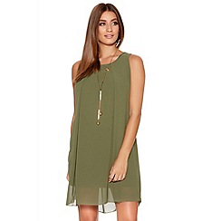 Quiz - Khaki Chiffon Necklace Tunic Dress