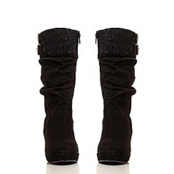 Quiz - Black Faux Suede Wedge Boots