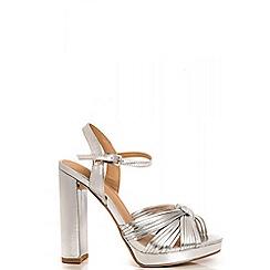 Quiz - Silver Metal Knot Block Heel Sandals