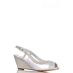 Quiz - Silver Diamante Mesh Low Heel Wedge