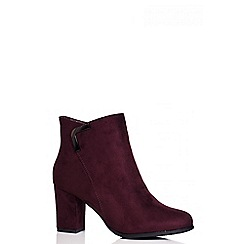 Quiz - Wine Faux Suede Ankle Boots
