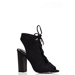 Quiz - Black Faux Suede Cut Out Shoes