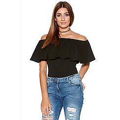 Quiz - Black Bardot Frill Bodysuit