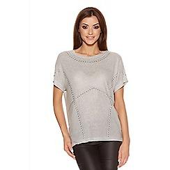 Quiz - Grey Light Knit Studded Top